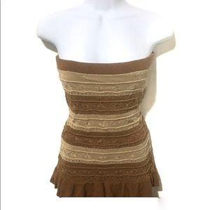 🔴 Lucca Couture gold shimmer stripe tube top